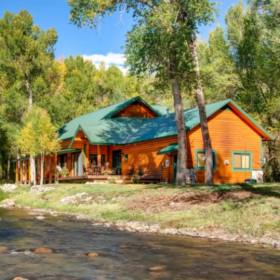 Log Home on the Elk River - Rustic log home on the Elk River, views of Sleeping Giant located just minutes from Steamboat<br />